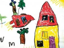 In der Zukunft reisen wir durch die Luft mit einem Raketen-Auto. (Luisa, 5 Jahre)