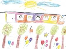 Eine Bahn, die über den Bäumen und Häusern fährt, sodass unten, auf dem boden, die Natur Platz hat. (Lea, 6 Jahre)