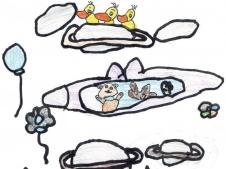 Die Tiere ohne Flügel können dann vielleicht selbst mit Flugzeugen oder was Ähnlichem fliegen. (Nina, 5 Jahre)