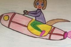 Dieses coole Raketen-Bild hat Matthias gemalt.