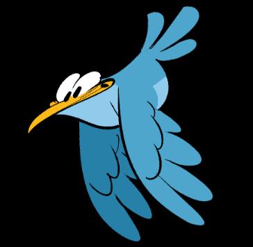 Blauer Cartoon-Vogel
