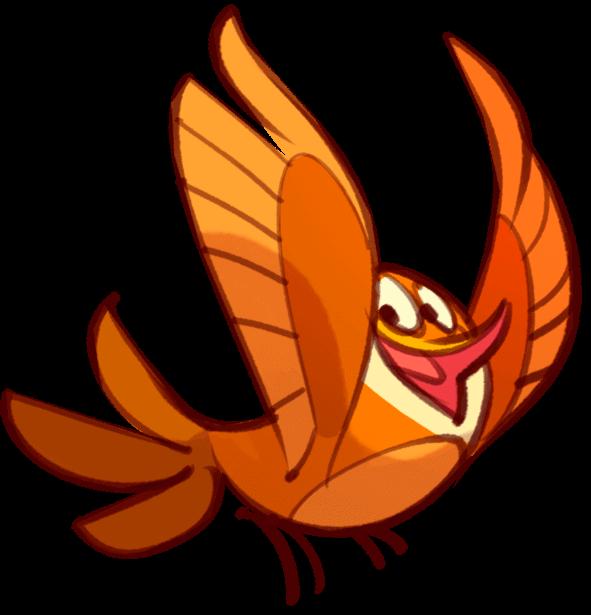 Rot-brauner Cartoon-Vogel