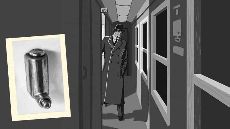 Der Spion wartete im Zug auf einen unbeobachteten Moment und betrat dann die Zugtoilette