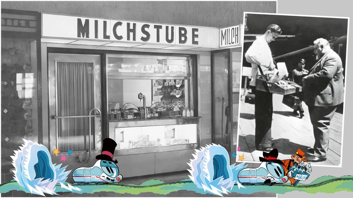 Proviantverkäufer mit Bauchladen im Anhalter Bahnhof in Berlin