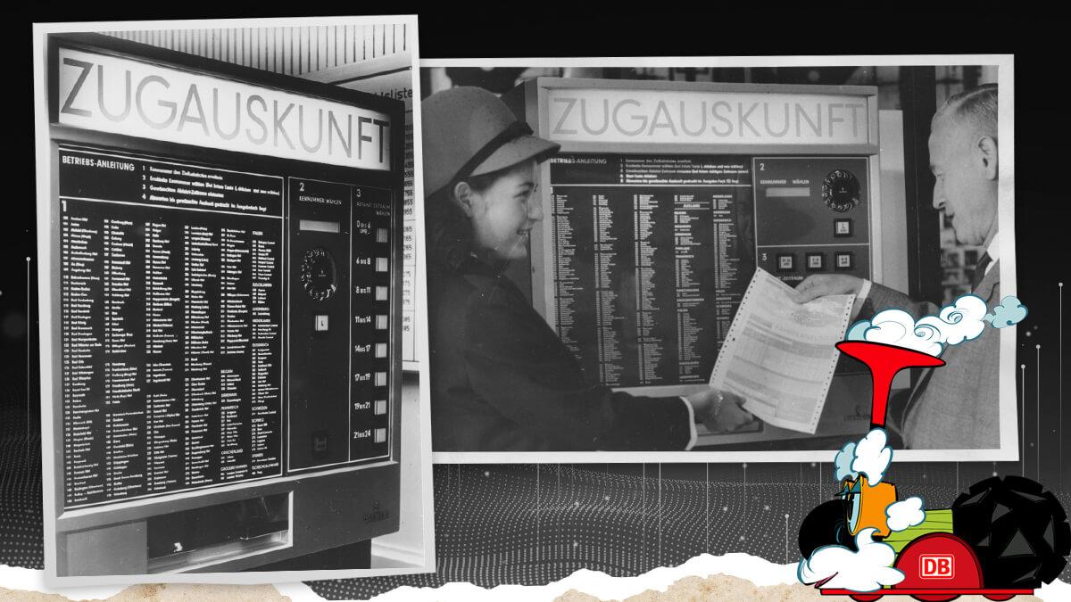 Zugauskunft-Automat war der erste Automat bei der Eisenbahn, der die Reisenden informierte, wann und wo ein Zug abfuhr und ankam
