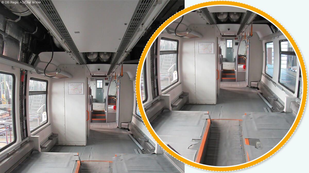 Beim Umbau werden die Sitze und Deckenverkleidungen ausgebaut.
