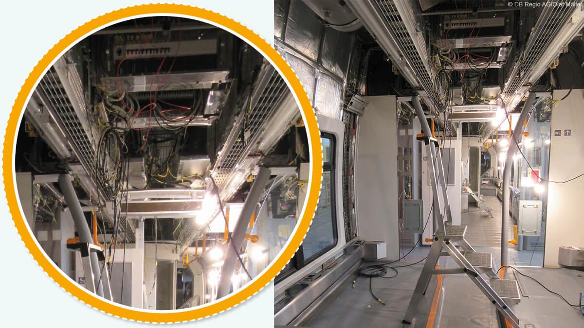 Um unsere Züge mit der neuesten Technik auszustatten, werden kilometerlange Kabel verbaut.