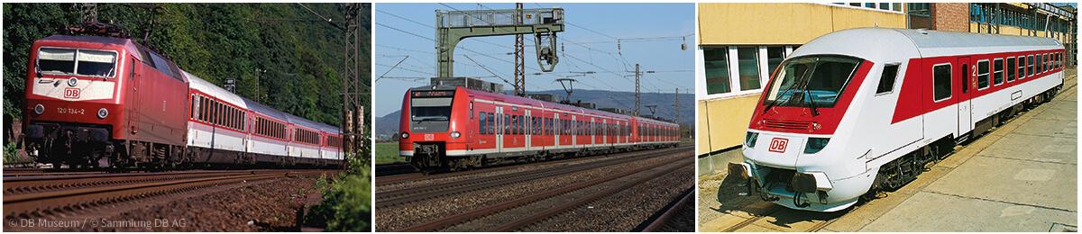 Neues Farbkonzept: die Nahverkehrszüge - verkehrsrot mit weißen Türen, die InterCity-Züge - verkehrsrotes Fensterband, die ICE-Züge -verkehrsroter Streifen