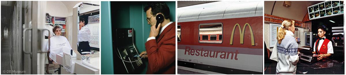 Im Zug am Telefon selbst wählen, im umgebauten InterCity-Wagen die Haare waschen und schneiden