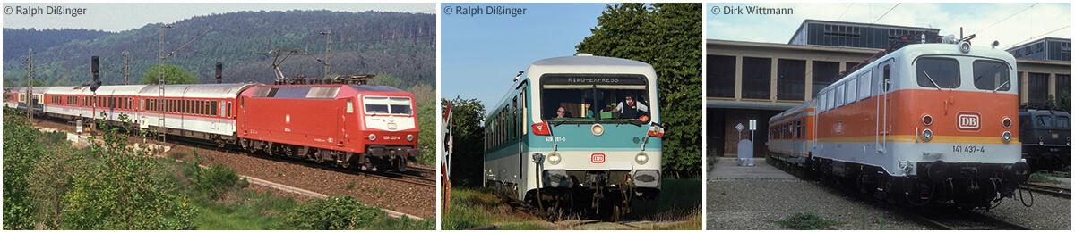 Bunte Züge mit alter und neuer Lackierung.